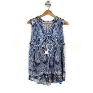 Lucky Brand Blue Toile Paisley Tassel Top XL